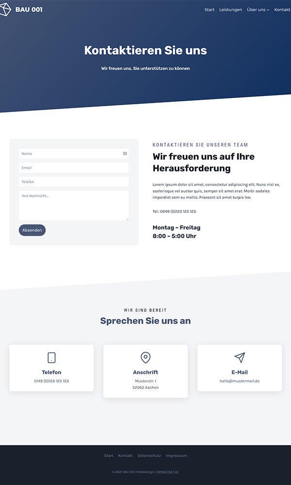 Firmastart Bauunternehmung Website Kontakt