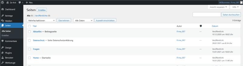 Firmastart - Website Liste Seiten