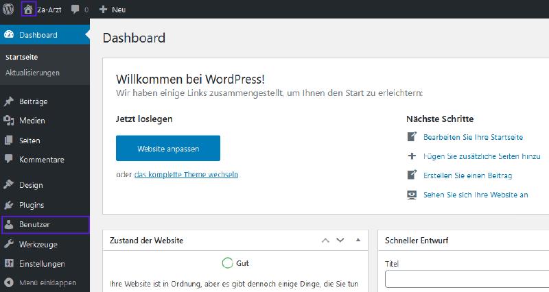 Firmastart - WordPress Dashboard Anmeldung DE