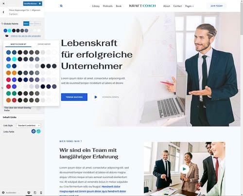 Firmastart Website Farbpalette